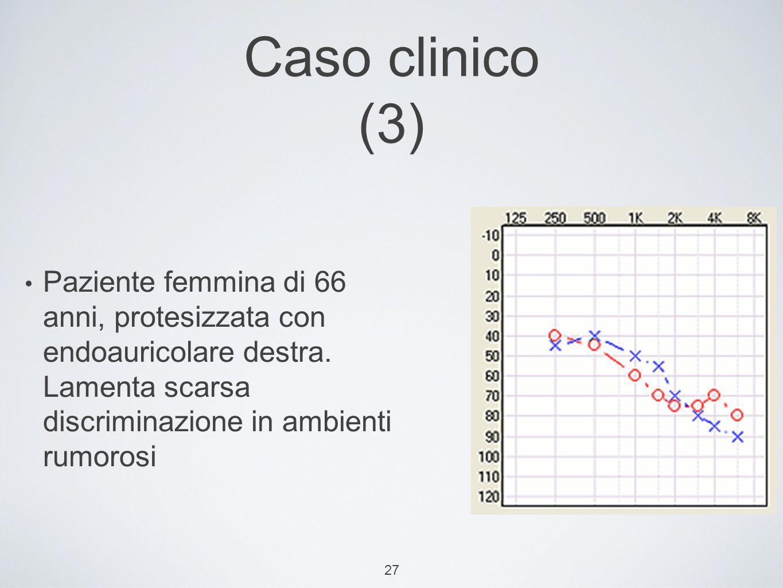 Caso clinico (3) Paziente femmina di 66 anni, protesizzata con endoauricolare destra. Lamenta scarsa discriminazione in ambienti rumorosi.