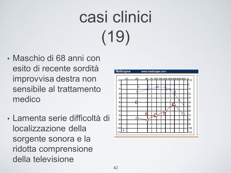 casi clinici (19) Maschio di 68 anni con esito di recente sordità improvvisa destra non sensibile al trattamento medico.