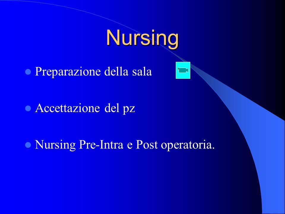 Nursing Preparazione della sala Accettazione del pz