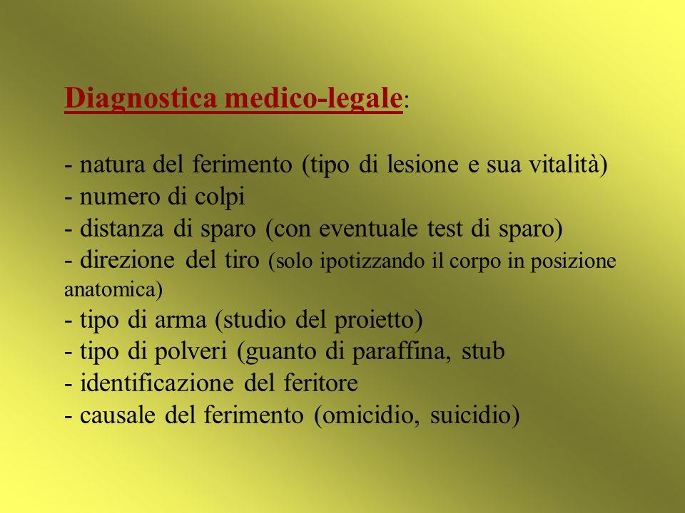 Diagnostica medico-legale: - natura del ferimento (tipo di lesione e sua vitalità) - numero di colpi - distanza di sparo (con eventuale test di sparo) - direzione del tiro (solo ipotizzando il corpo in posizione anatomica) - tipo di arma (studio del proietto) - tipo di polveri (guanto di paraffina, stub - identificazione del feritore - causale del ferimento (omicidio, suicidio)