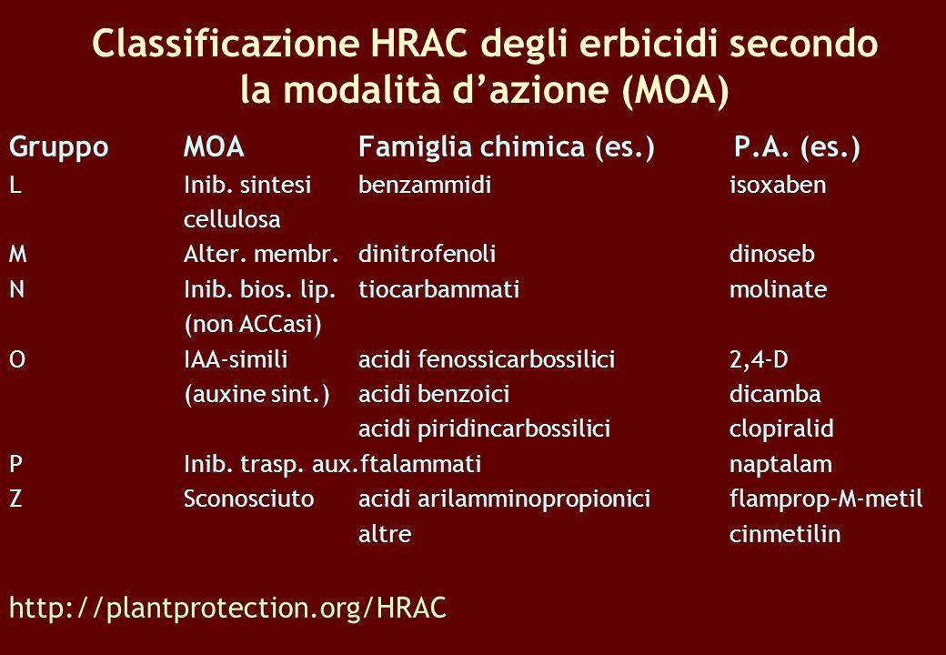 Classificazione HRAC degli erbicidi secondo la modalità d'azione (MOA)