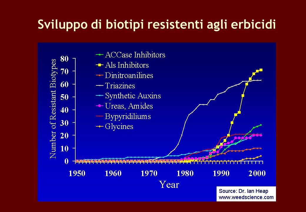 Sviluppo di biotipi resistenti agli erbicidi