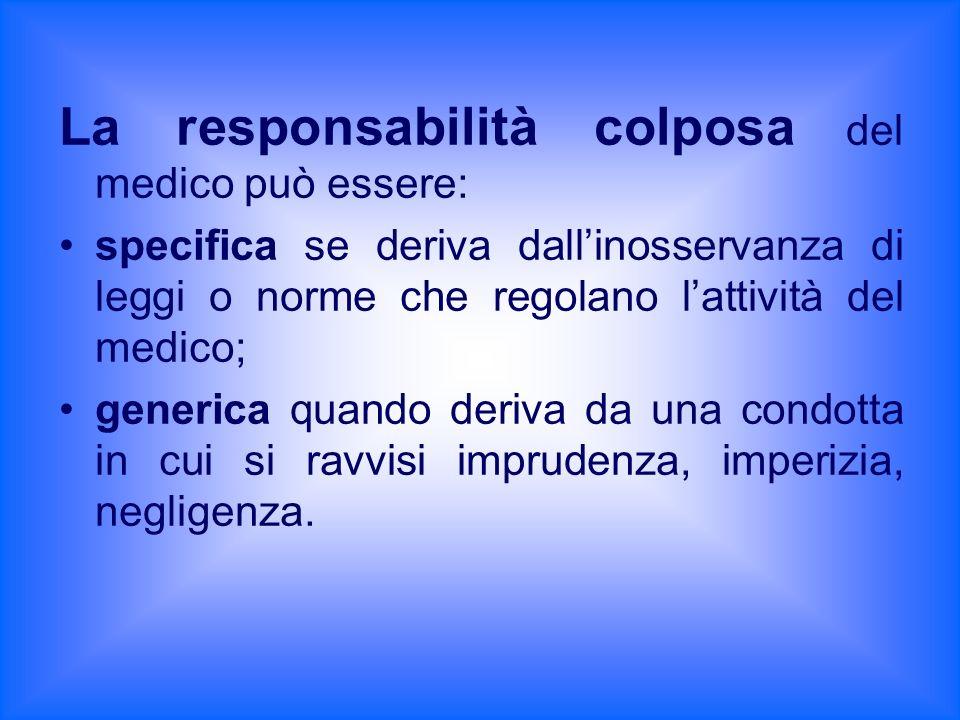 La responsabilità colposa del medico può essere: