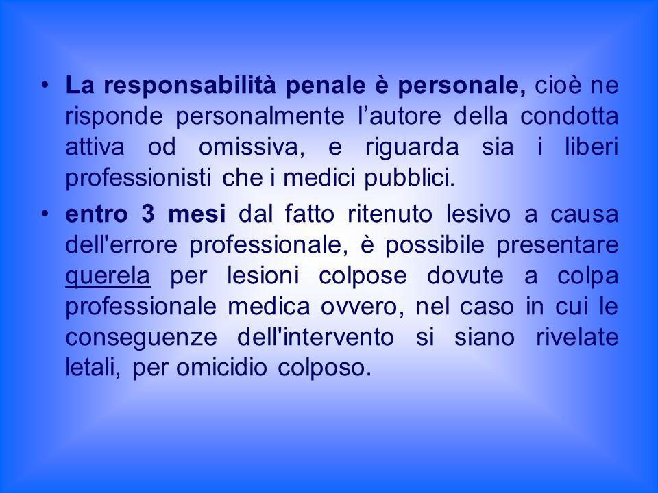 La responsabilità penale è personale, cioè ne risponde personalmente l'autore della condotta attiva od omissiva, e riguarda sia i liberi professionisti che i medici pubblici.