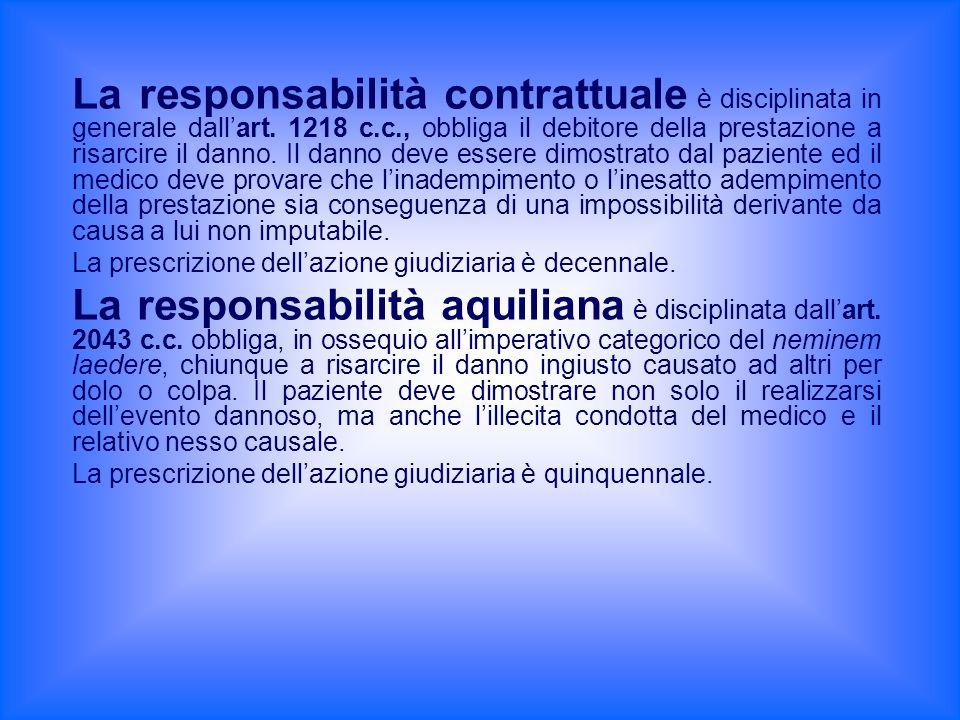 La responsabilità contrattuale è disciplinata in generale dall'art