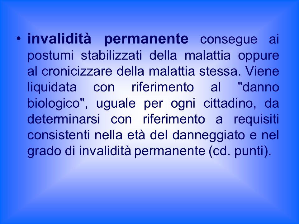 invalidità permanente consegue ai postumi stabilizzati della malattia oppure al cronicizzare della malattia stessa.
