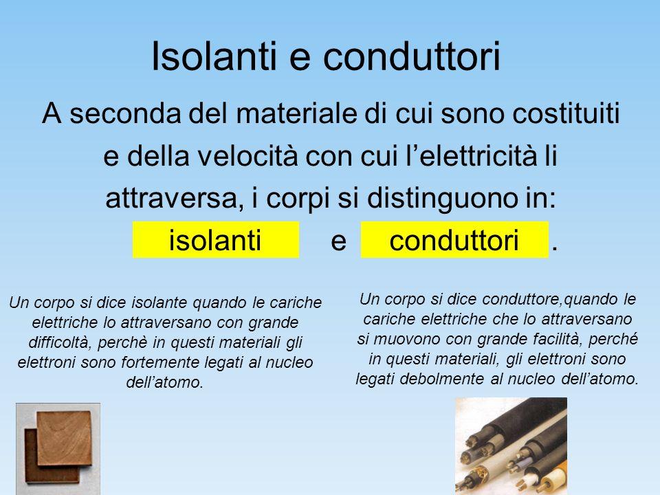 Isolanti e conduttori A seconda del materiale di cui sono costituiti