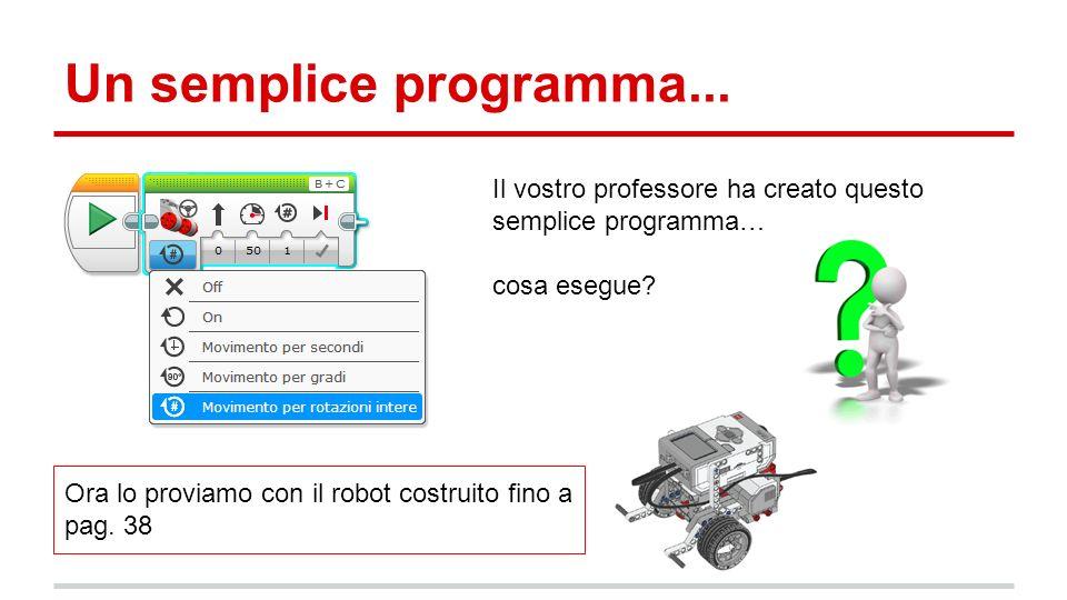 Un semplice programma... Il vostro professore ha creato questo semplice programma… cosa esegue