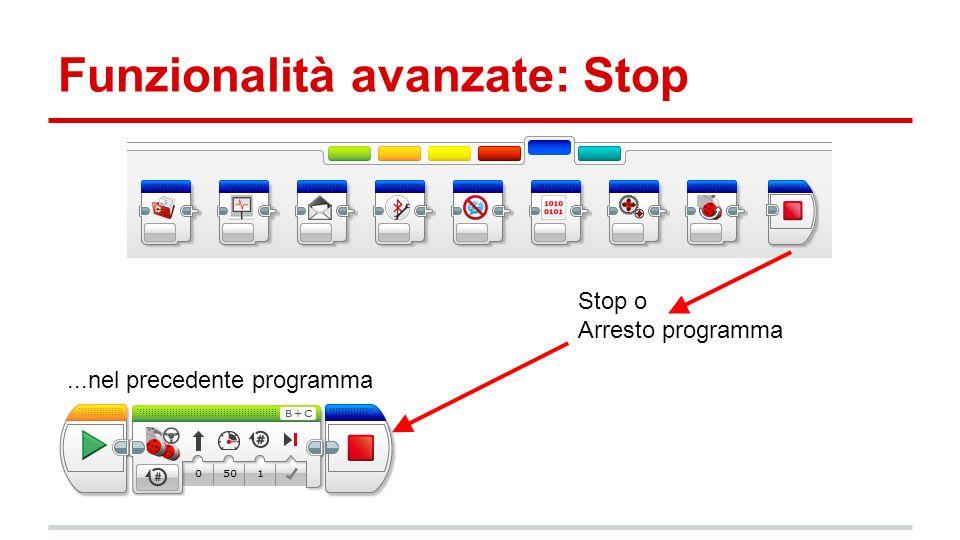 Funzionalità avanzate: Stop