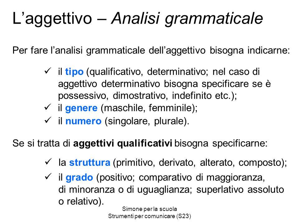 L'aggettivo – Analisi grammaticale