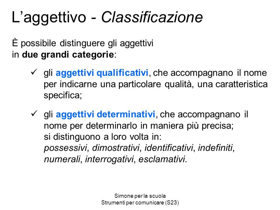L'aggettivo - Classificazione