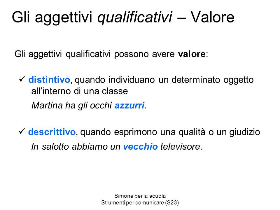 Gli aggettivi qualificativi – Valore