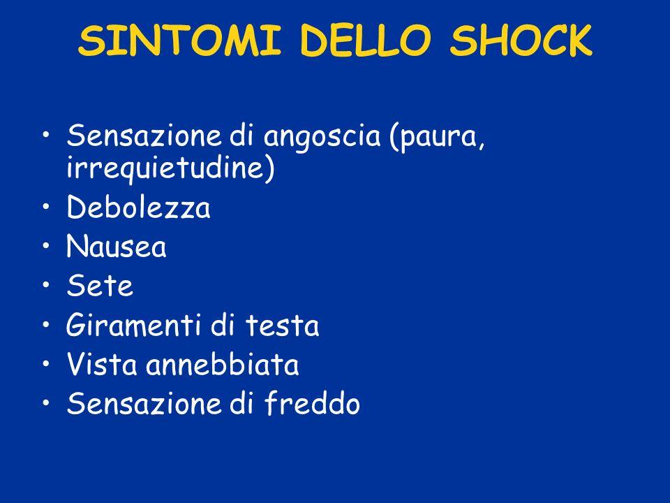 SINTOMI DELLO SHOCK Sensazione di angoscia (paura, irrequietudine)