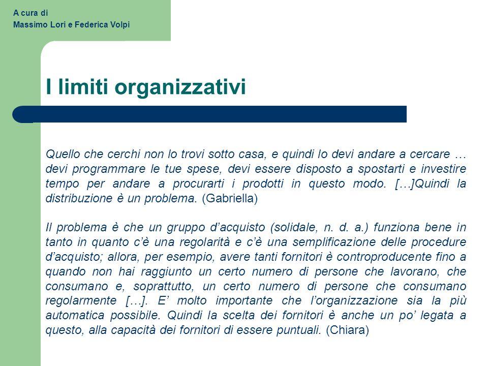 I limiti organizzativi
