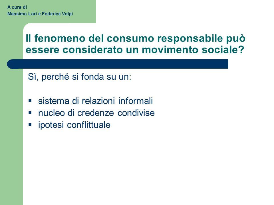 A cura di Massimo Lori e Federica Volpi. Il fenomeno del consumo responsabile può essere considerato un movimento sociale