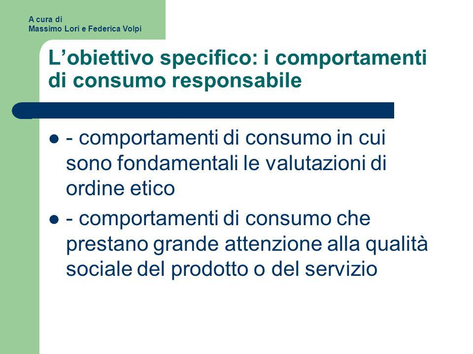 L'obiettivo specifico: i comportamenti di consumo responsabile