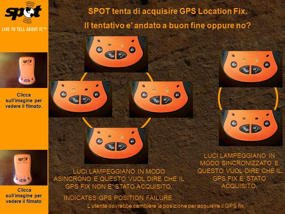 SPOT tenta di acquisire GPS Location Fix.