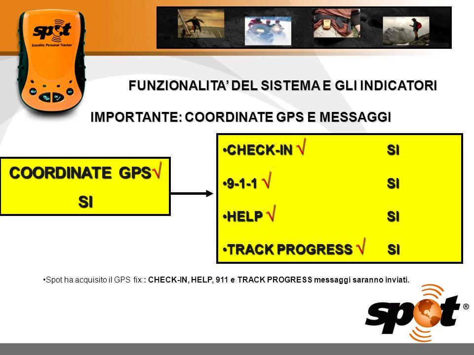 COORDINATE GPS√ SI FUNZIONALITA' DEL SISTEMA E GLI INDICATORI