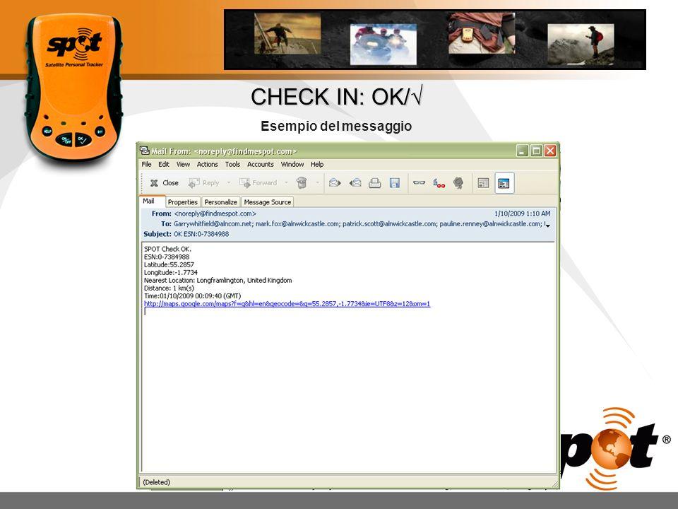 CHECK IN: OK/√ Esempio del messaggio