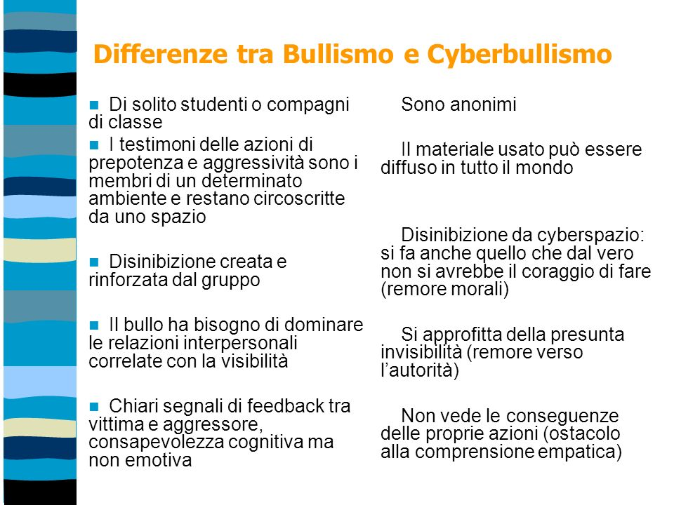 Differenze tra Bullismo e Cyberbullismo