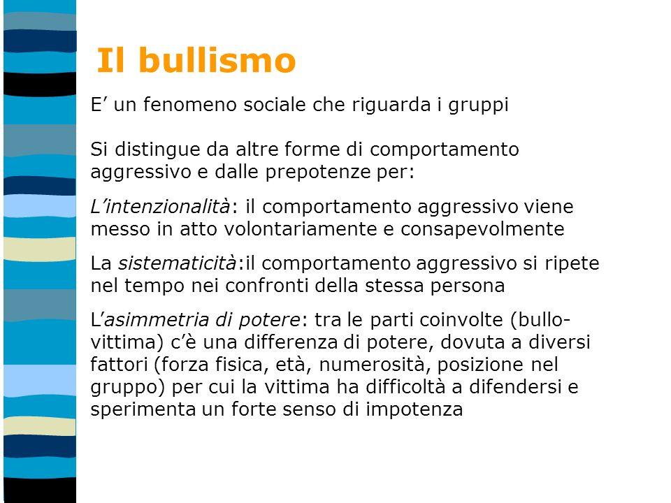 Il bullismo E' un fenomeno sociale che riguarda i gruppi