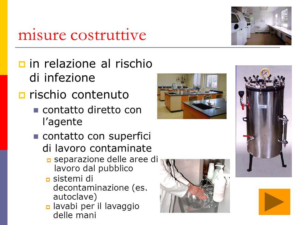 misure costruttive in relazione al rischio di infezione