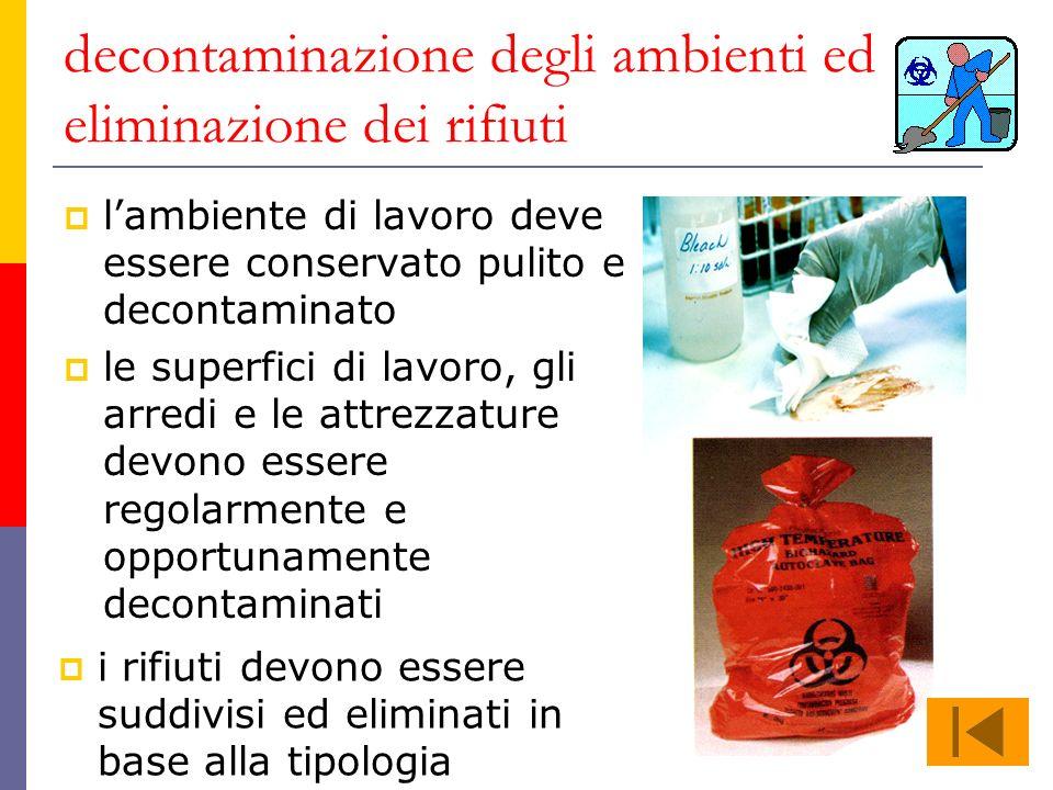 decontaminazione degli ambienti ed eliminazione dei rifiuti