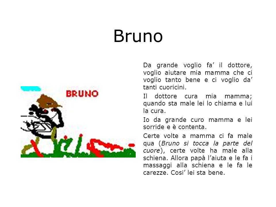 Bruno Da grande voglio fa' il dottore, voglio aiutare mia mamma che ci voglio tanto bene e ci voglio da' tanti cuoricini.