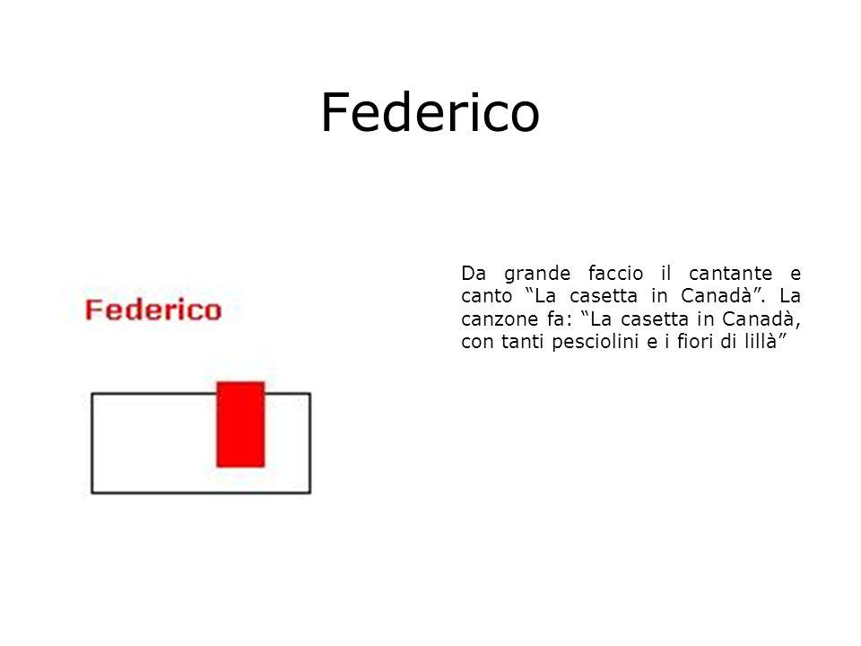 Federico Da grande faccio il cantante e canto La casetta in Canadà .