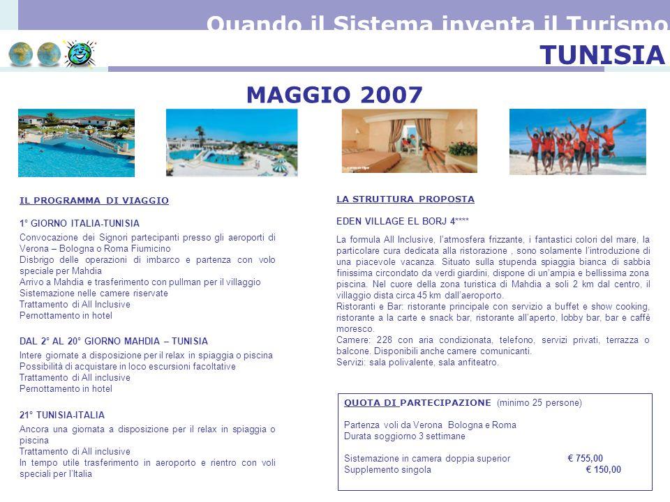 TUNISIA Quando il Sistema inventa il Turismo MAGGIO 2007