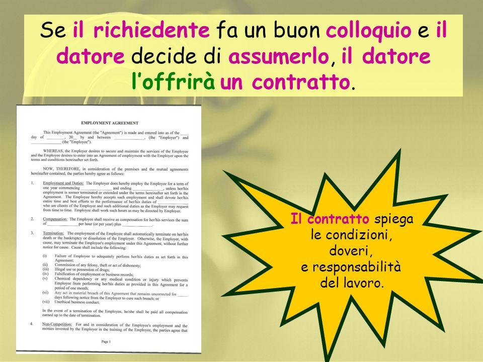 Se il richiedente fa un buon colloquio e il datore decide di assumerlo, il datore l'offrirà un contratto.