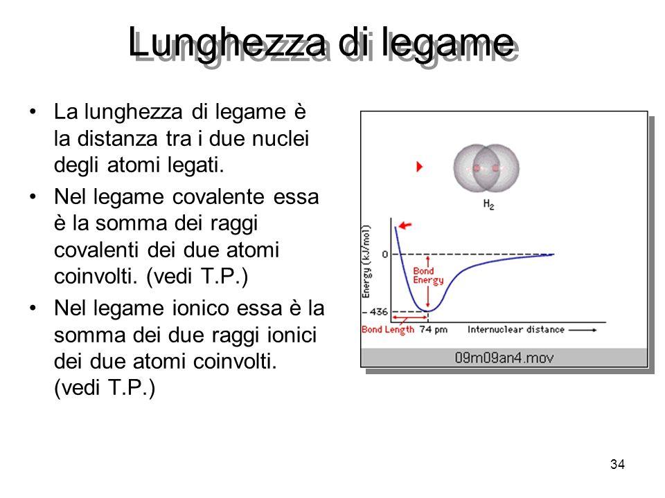 Lunghezza di legame La lunghezza di legame è la distanza tra i due nuclei degli atomi legati.