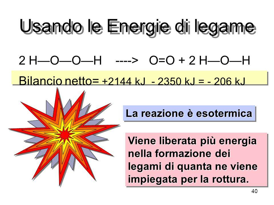 Usando le Energie di legame