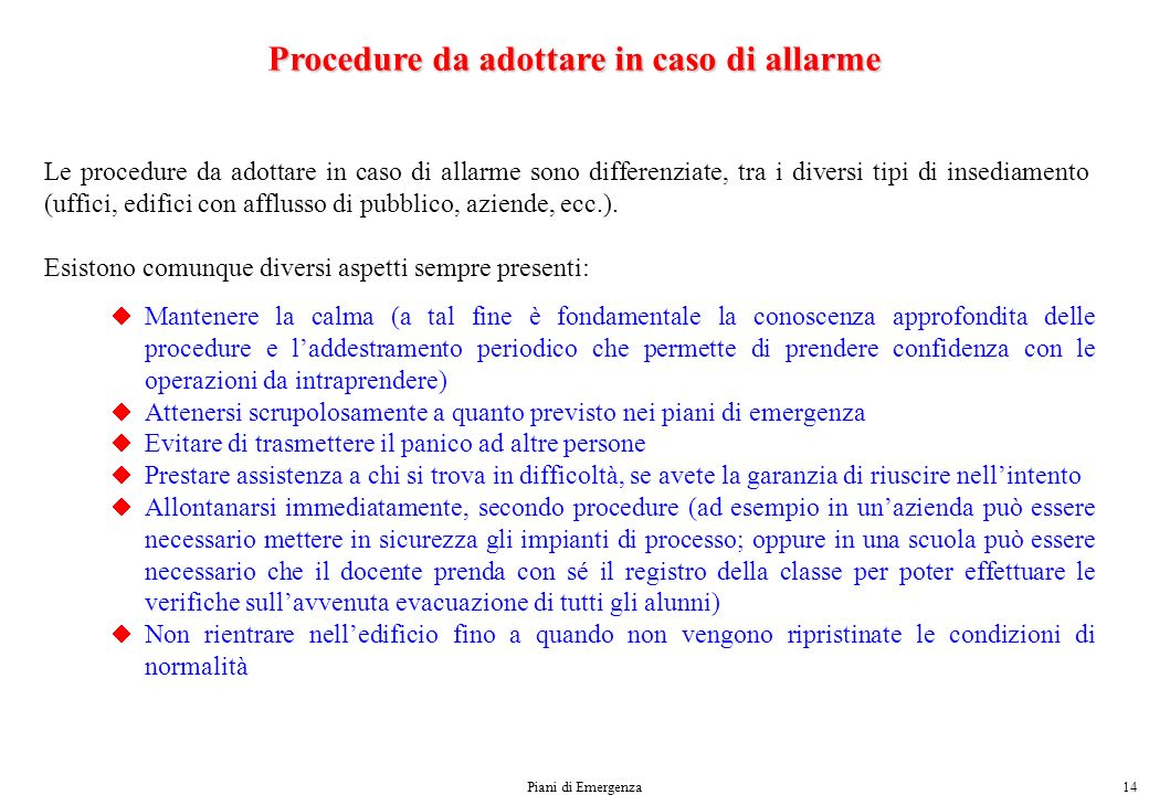 Procedure da adottare in caso di allarme
