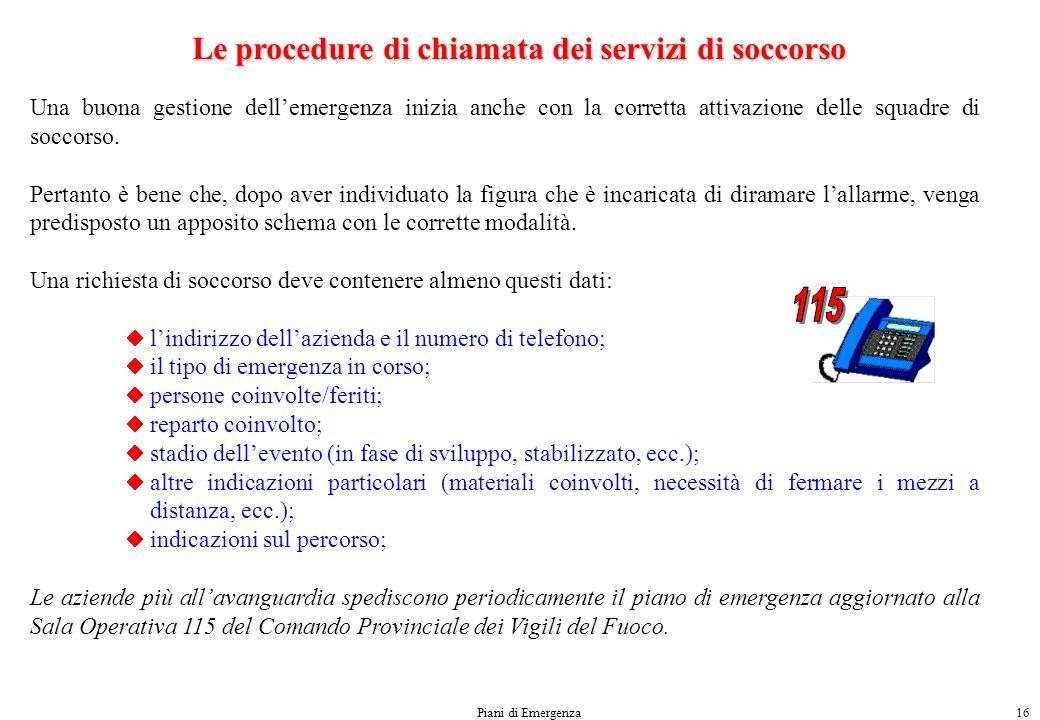 Le procedure di chiamata dei servizi di soccorso