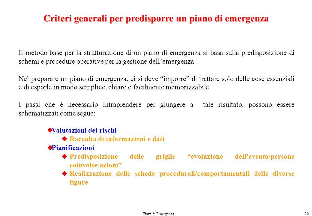Criteri generali per predisporre un piano di emergenza