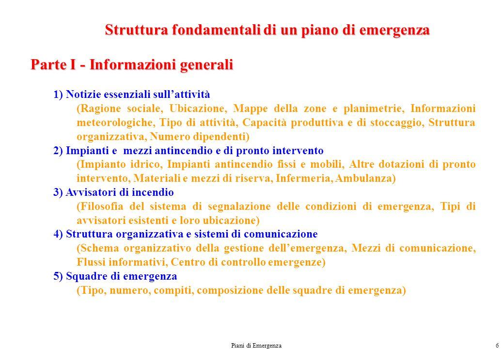 Struttura fondamentali di un piano di emergenza