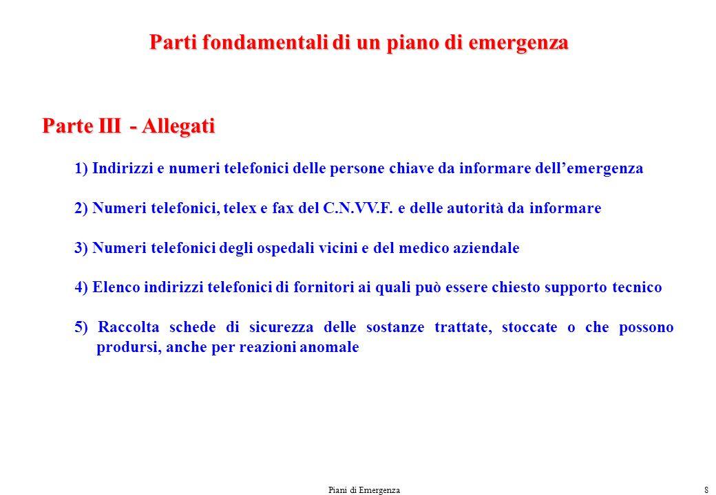 Parti fondamentali di un piano di emergenza