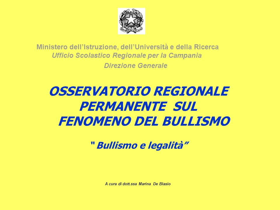 OSSERVATORIO REGIONALE A cura di dott.ssa Marina De Blasio