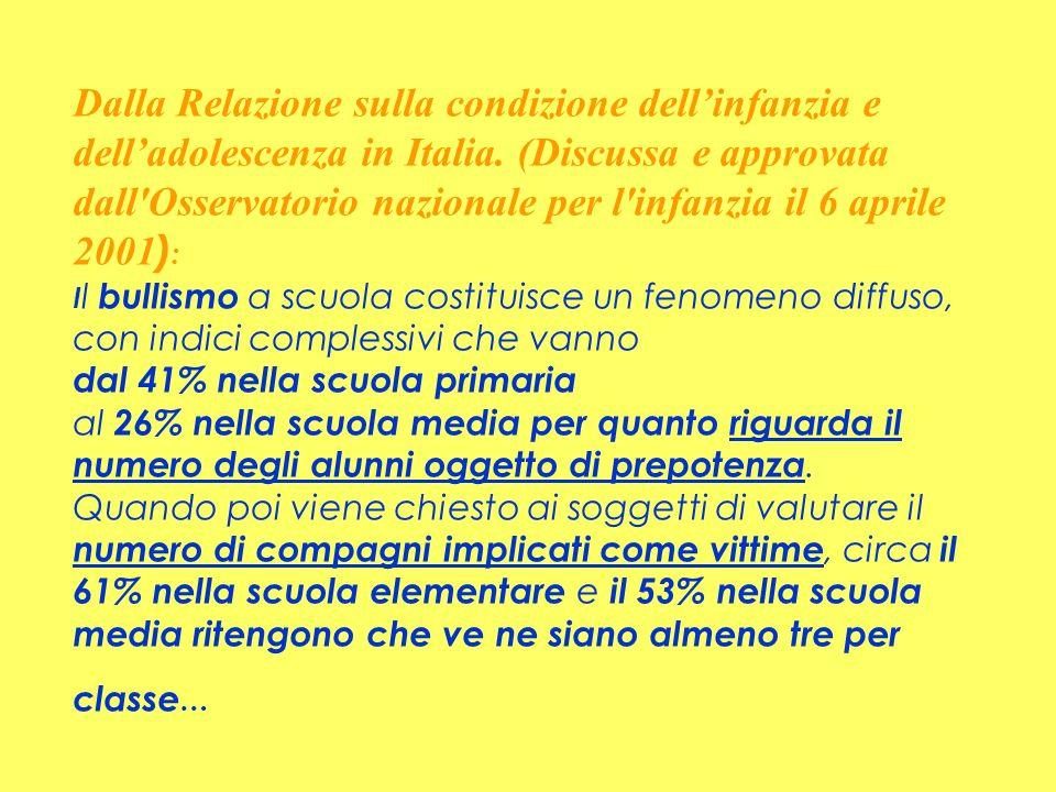 Dalla Relazione sulla condizione dell'infanzia e dell'adolescenza in Italia.