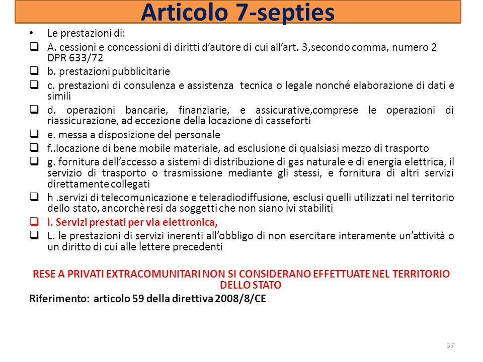 Articolo 7-septies Le prestazioni di:
