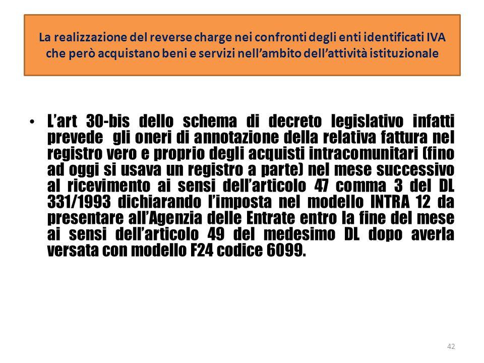 La realizzazione del reverse charge nei confronti degli enti identificati IVA che però acquistano beni e servizi nell'ambito dell'attività istituzionale