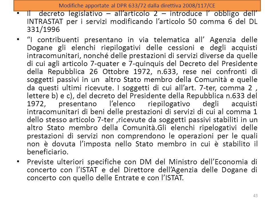 Modifiche apportate al DPR 633/72 dalla direttiva 2008/117/CE
