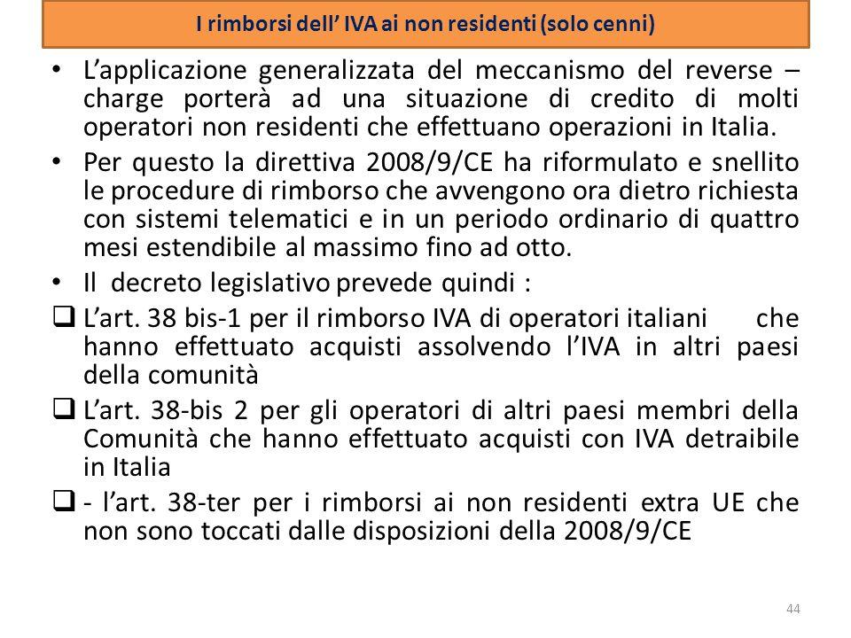 I rimborsi dell' IVA ai non residenti (solo cenni)