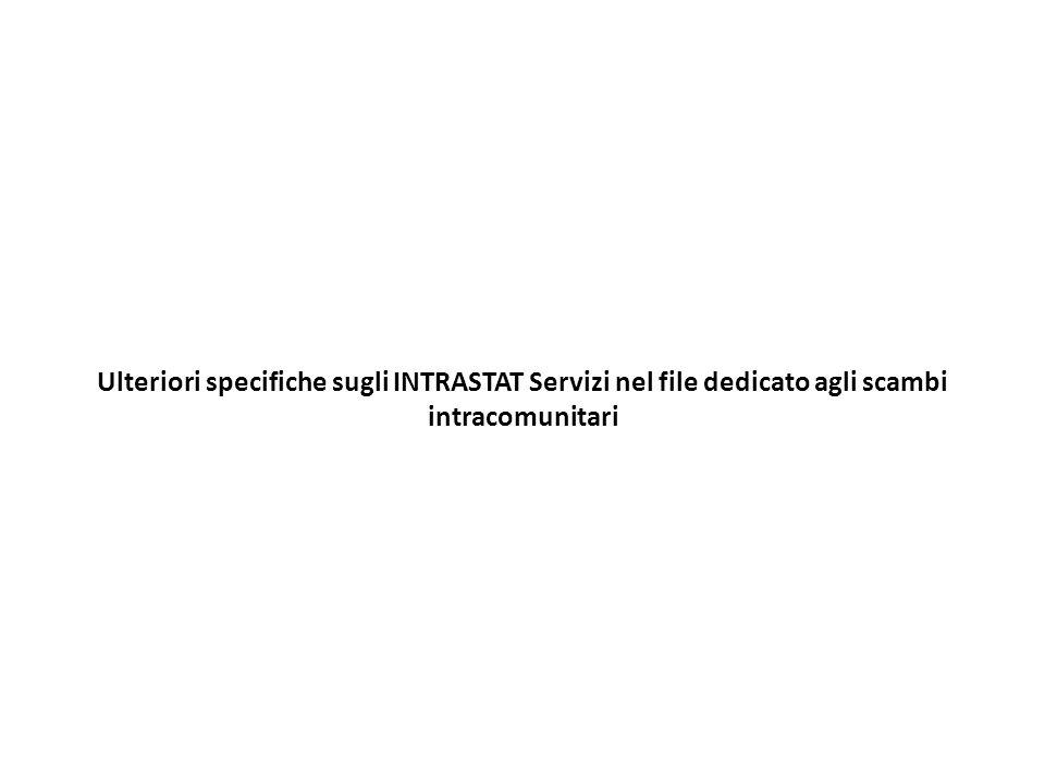 Ulteriori specifiche sugli INTRASTAT Servizi nel file dedicato agli scambi intracomunitari