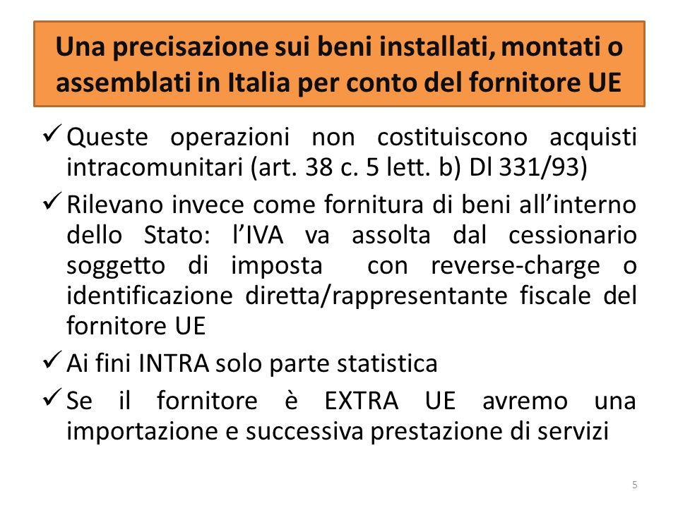 Una precisazione sui beni installati, montati o assemblati in Italia per conto del fornitore UE