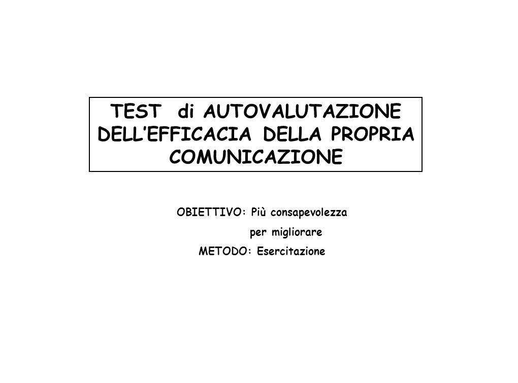 TEST di AUTOVALUTAZIONE DELL'EFFICACIA DELLA PROPRIA COMUNICAZIONE