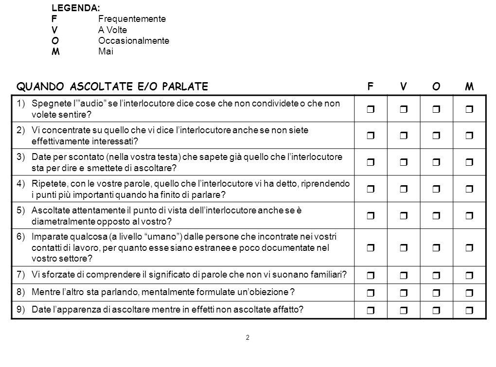 QUANDO ASCOLTATE E/O PARLATE F V O M 