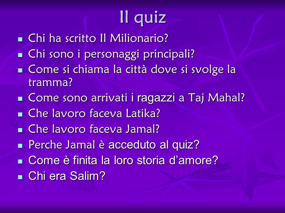 Il quiz Chi ha scritto Il Milionario