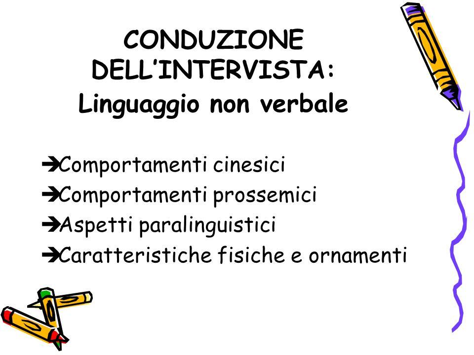 CONDUZIONE DELL'INTERVISTA: Linguaggio non verbale